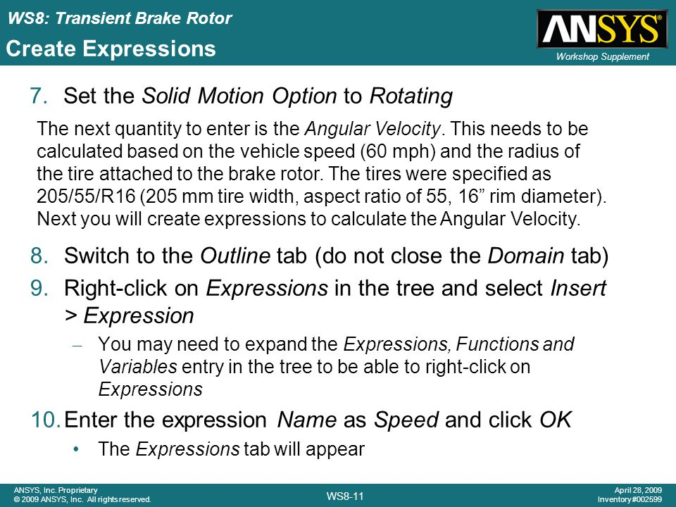 Set the Solid Motion Option to Rotating