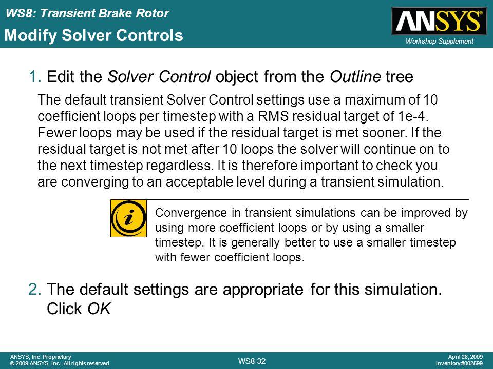 Modify Solver Controls