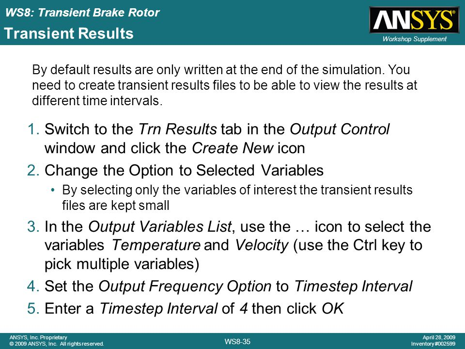 Change the Option to Selected Variables