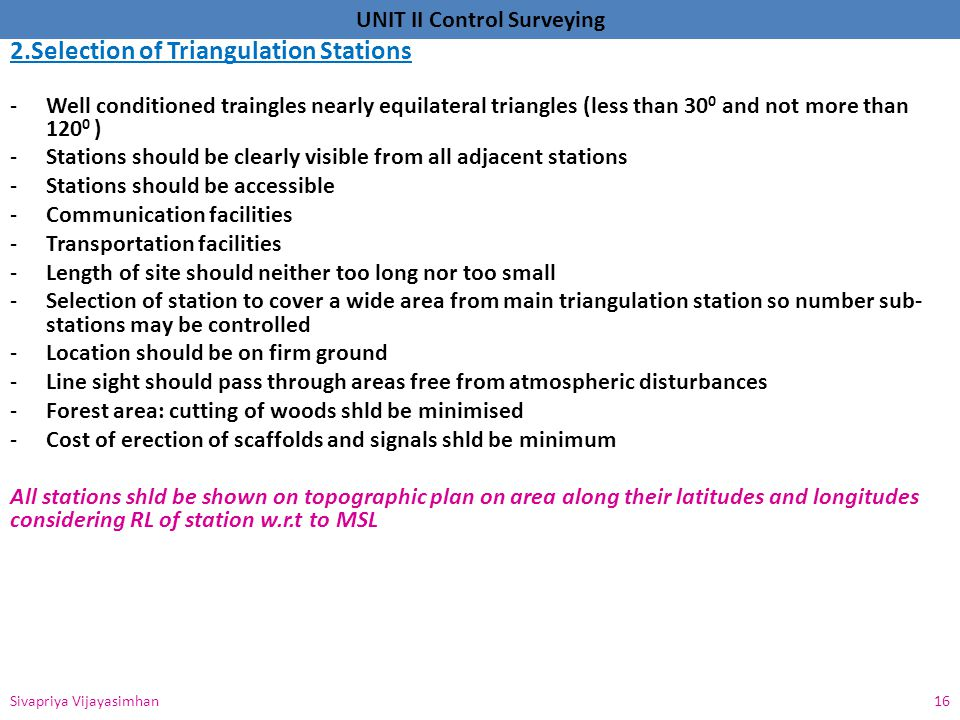 2.Selection of Triangulation Stations