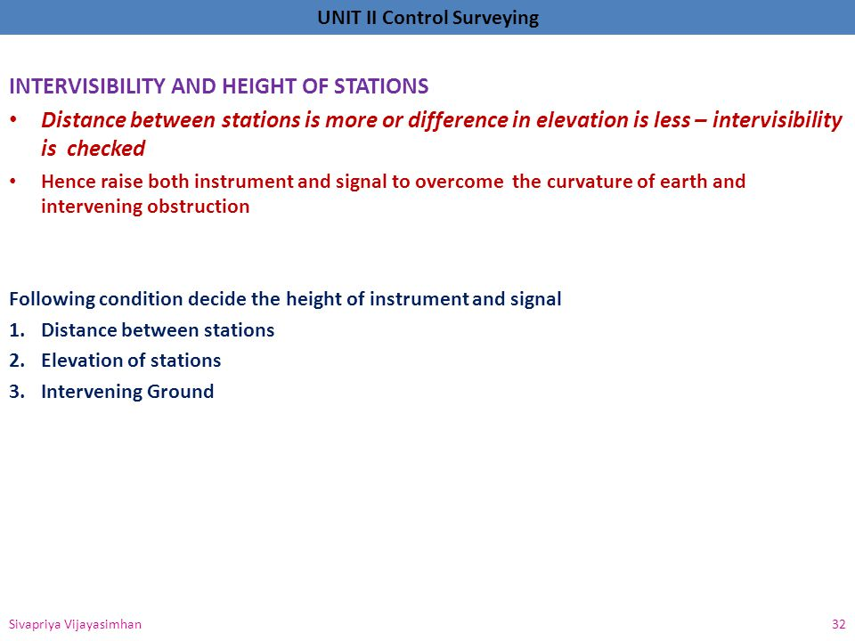 INTERVISIBILITY AND HEIGHT OF STATIONS