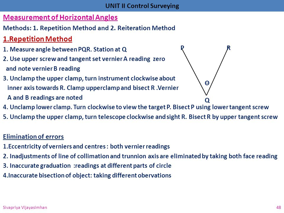 Measurement of Horizontal Angles 1.Repetition Method