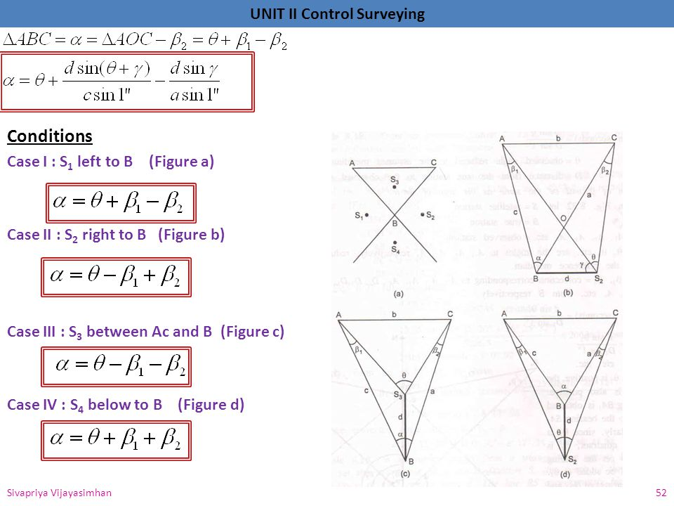 Conditions Case I : S1 left to B (Figure a)