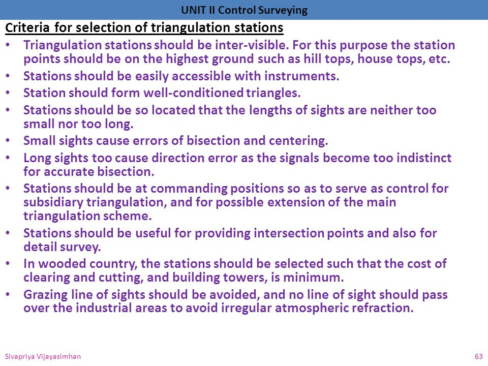 Criteria for selection of triangulation stations