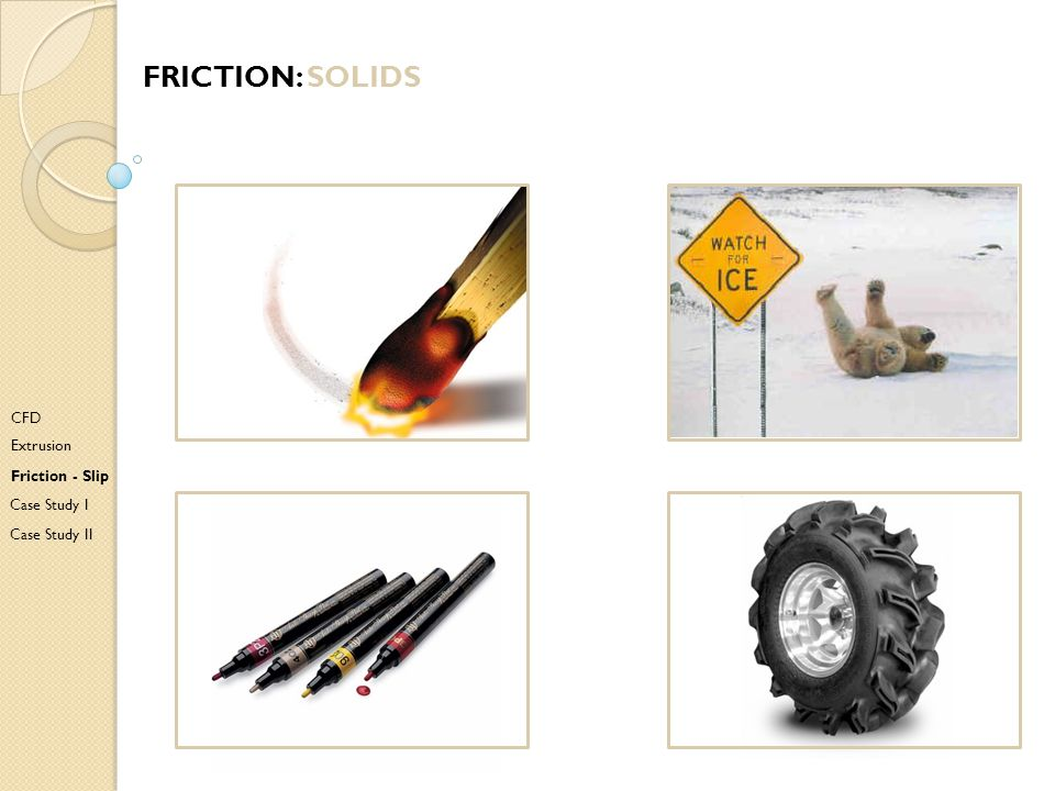Friction: solids CFD Extrusion Friction - Slip Case Study I