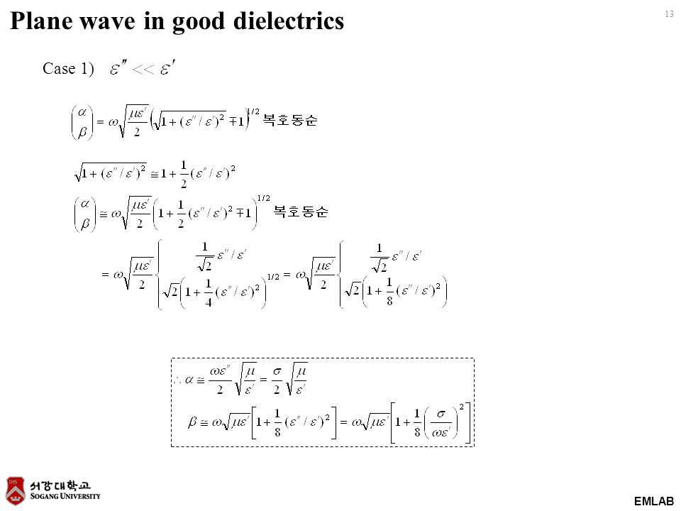 Plane wave in good dielectrics