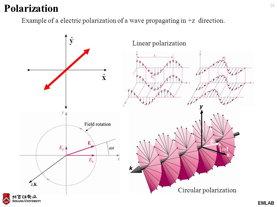 Polarization Example of a electric polarization of a wave propagating in +z direction. Linear polarization.