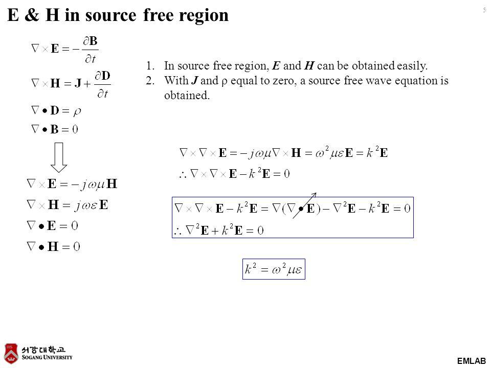 E & H in source free region