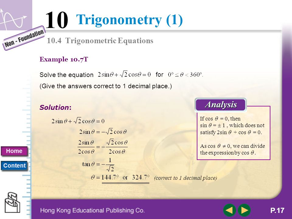 10.4 Trigonometric Equations