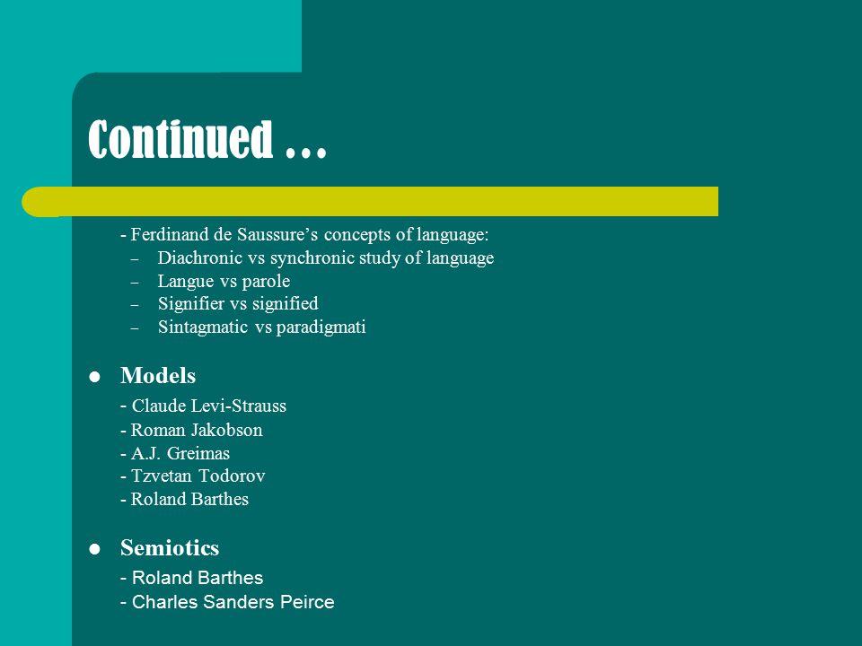 Continued … Models - Claude Levi-Strauss Semiotics