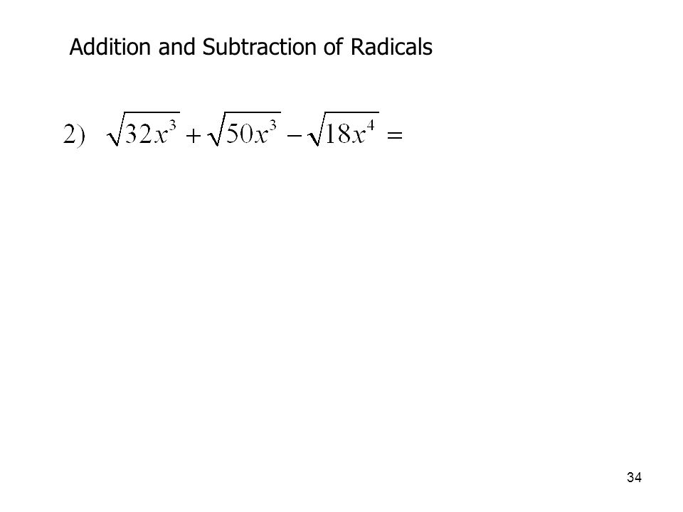 Addition and Subtraction of Radicals