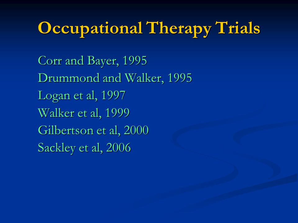 Occupational Therapy Trials