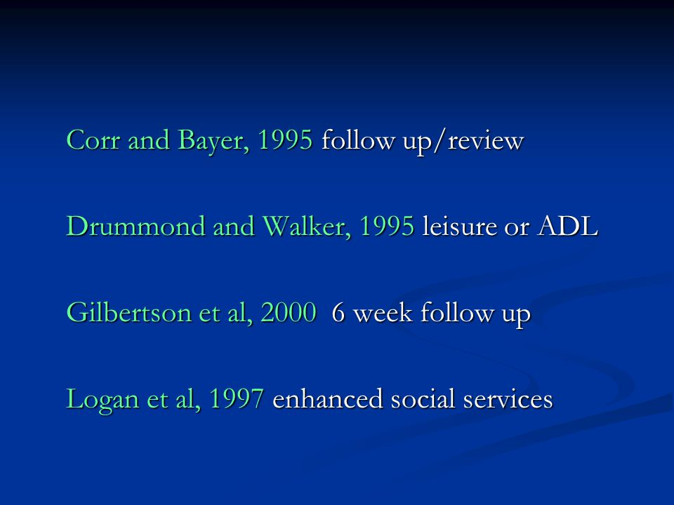 Corr and Bayer, 1995 follow up/review