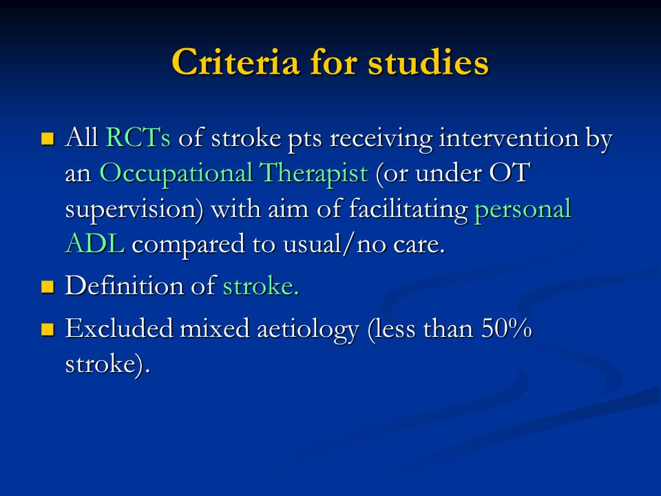 Criteria for studies