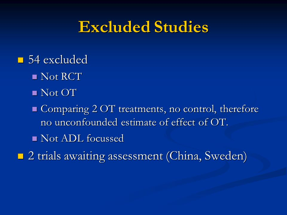 Excluded Studies 54 excluded