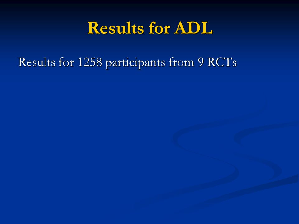 Results for ADL Results for 1258 participants from 9 RCTs