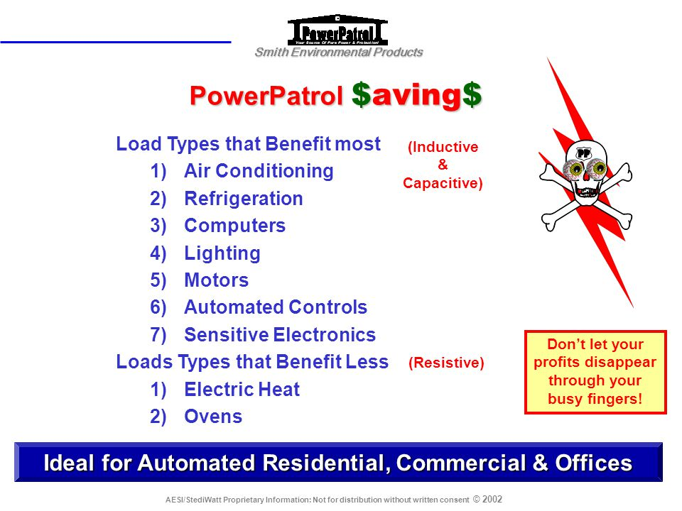PowerPatrol $aving$ Load Types that Benefit most. Air Conditioning. Refrigeration. Computers. Lighting.