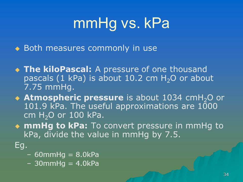 mmHg vs. kPa Both measures commonly in use