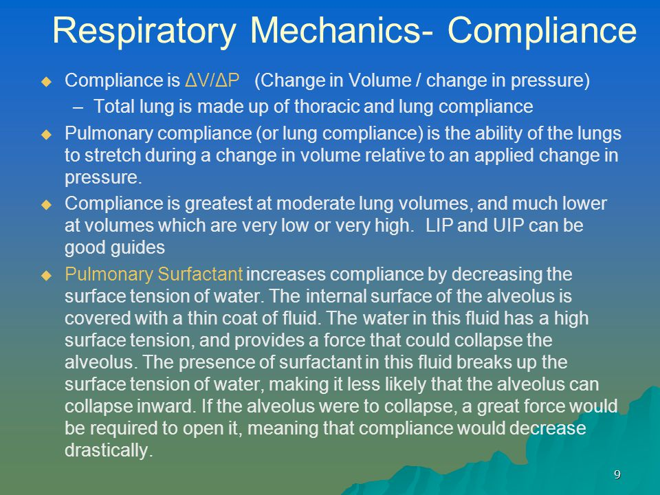 Respiratory Mechanics- Compliance