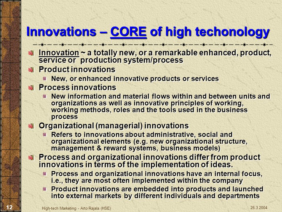 Innovations – CORE of high techonology