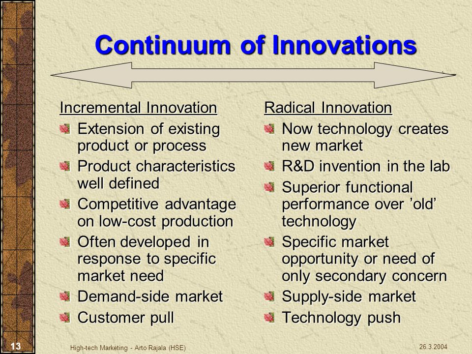 Continuum of Innovations