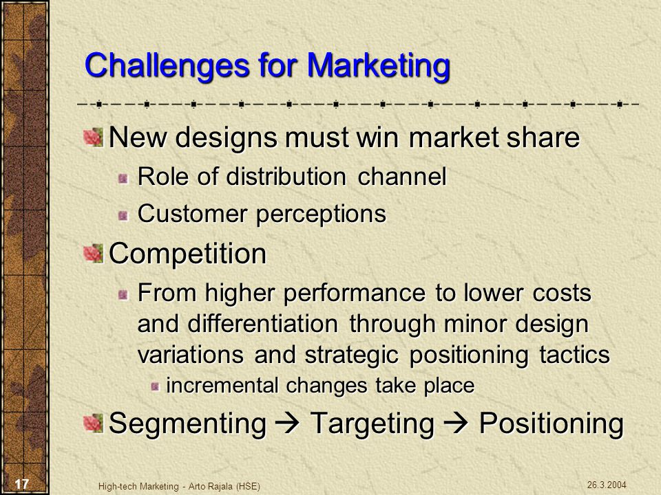 Challenges for Marketing