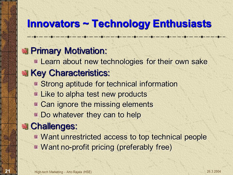 Innovators ~ Technology Enthusiasts