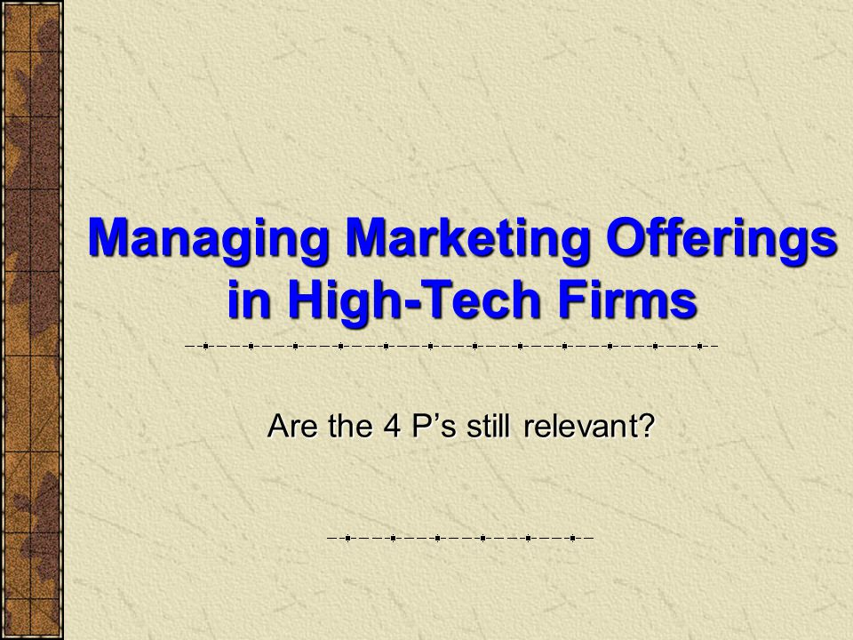 Managing Marketing Offerings in High-Tech Firms