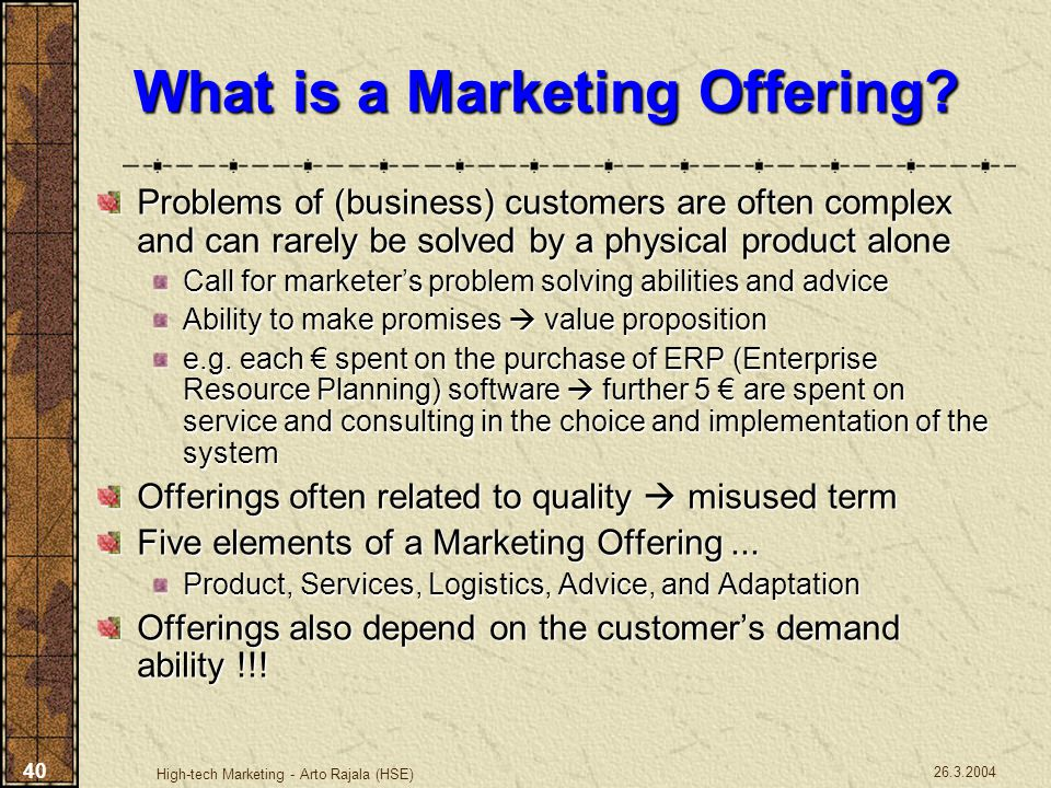 What is a Marketing Offering