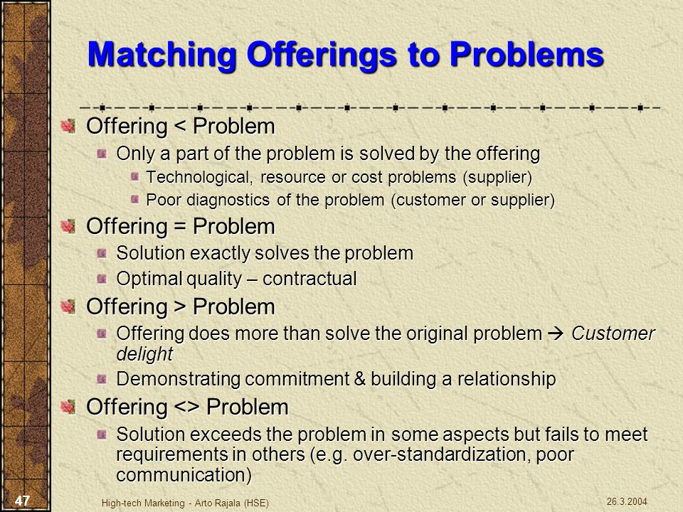 Matching Offerings to Problems