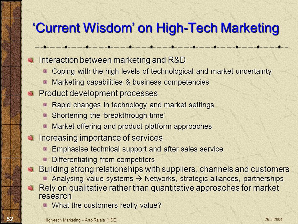 'Current Wisdom' on High-Tech Marketing