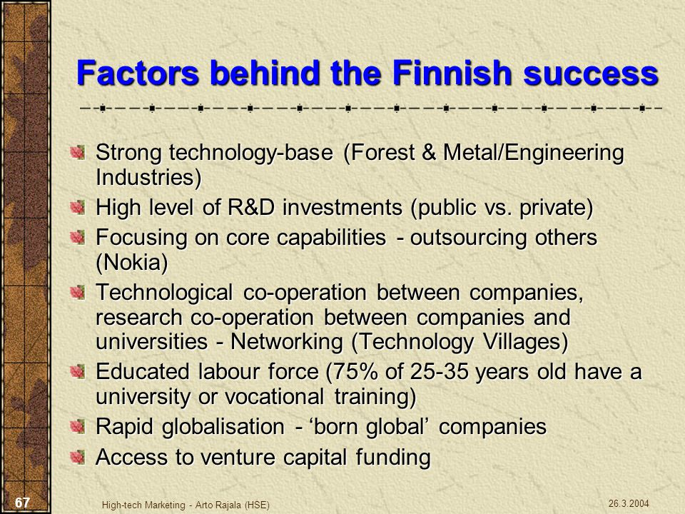 Factors behind the Finnish success