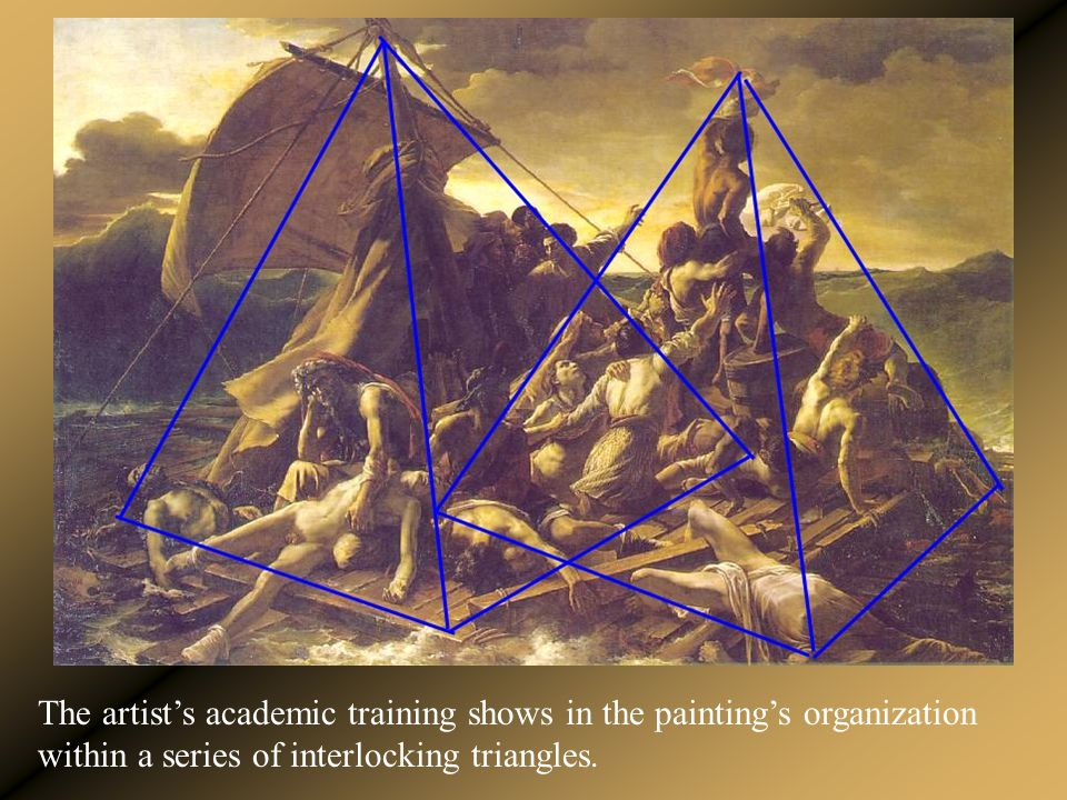 The artist's academic training shows in the painting's organization within a series of interlocking triangles.