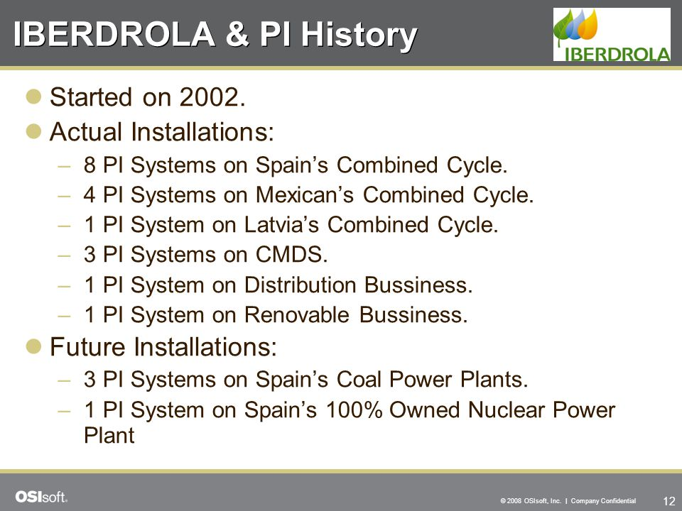 IBERDROLA & PI History Started on 2002. Actual Installations: