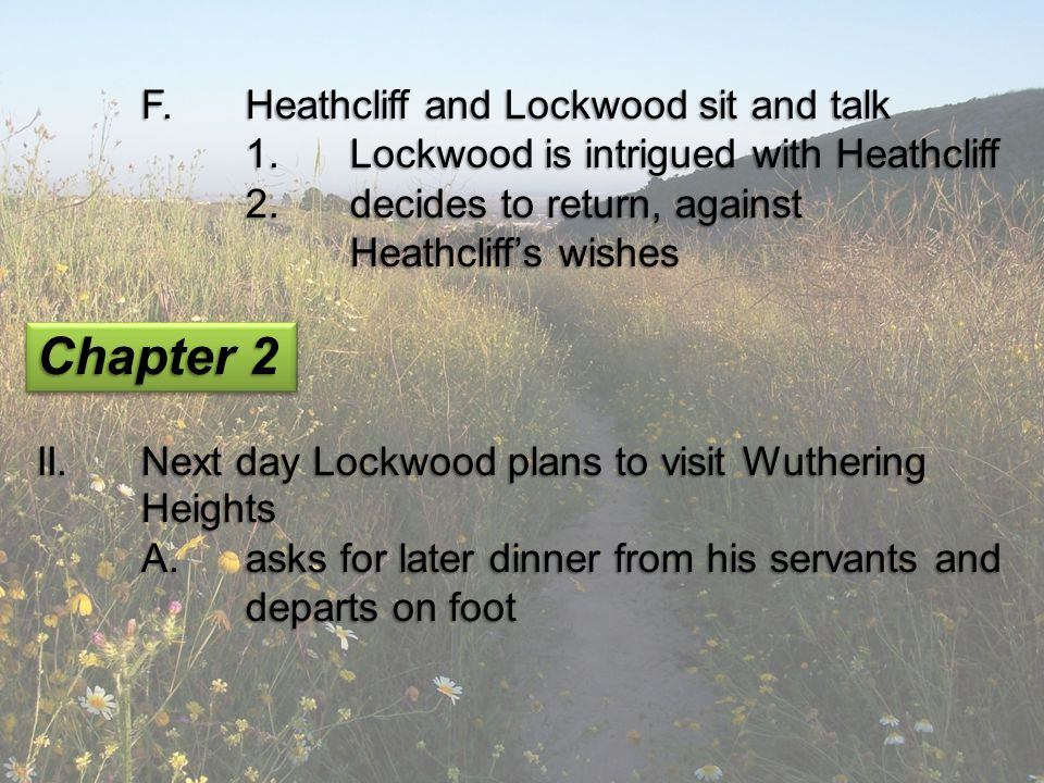 Chapter 2 F. Heathcliff and Lockwood sit and talk