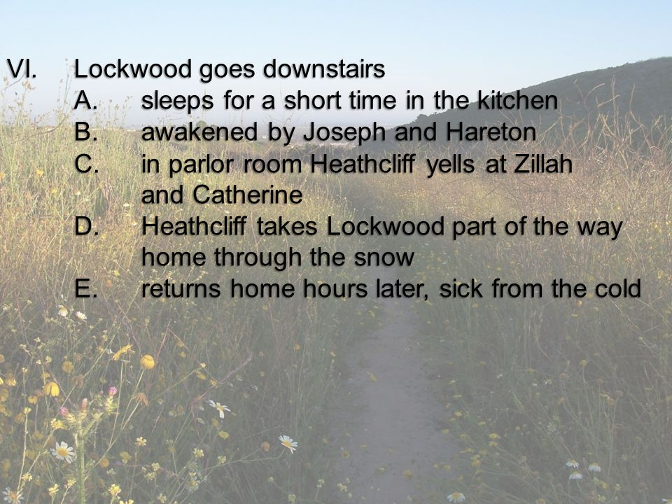 VI. Lockwood goes downstairs A. sleeps for a short time in the kitchen