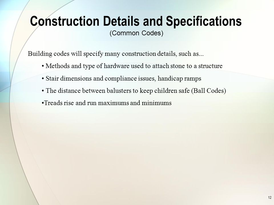 Construction Details and Specifications