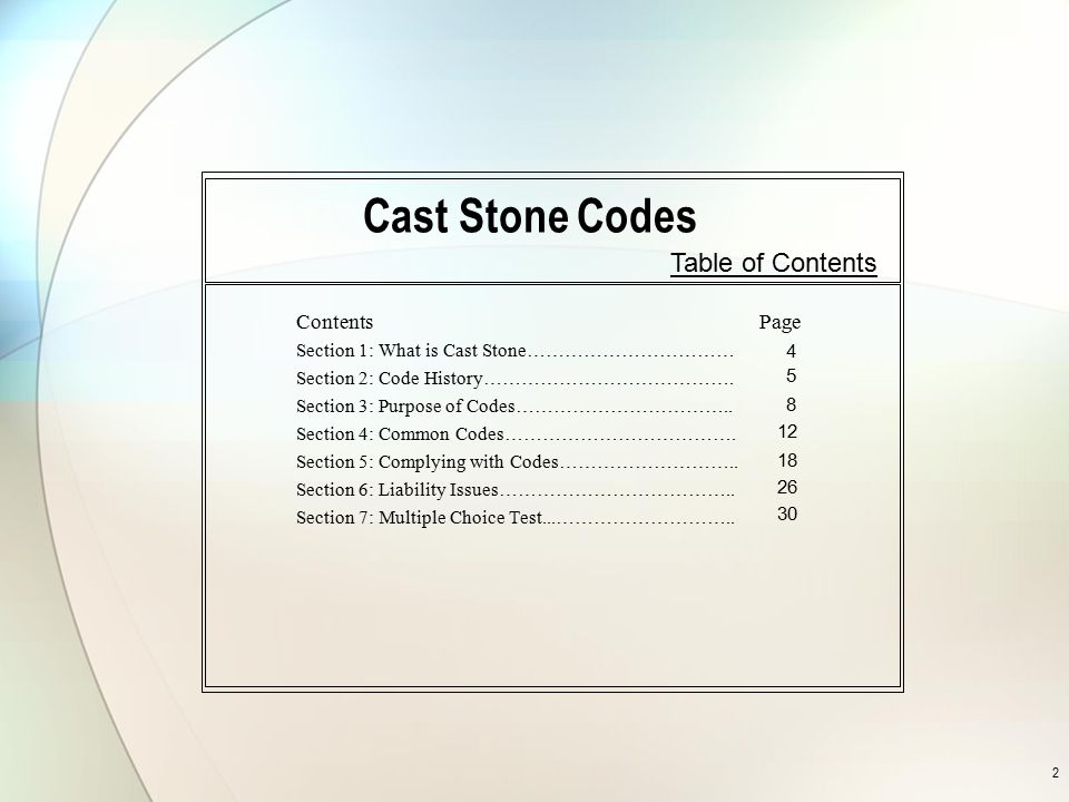 Cast Stone Codes Table of Contents Contents Page