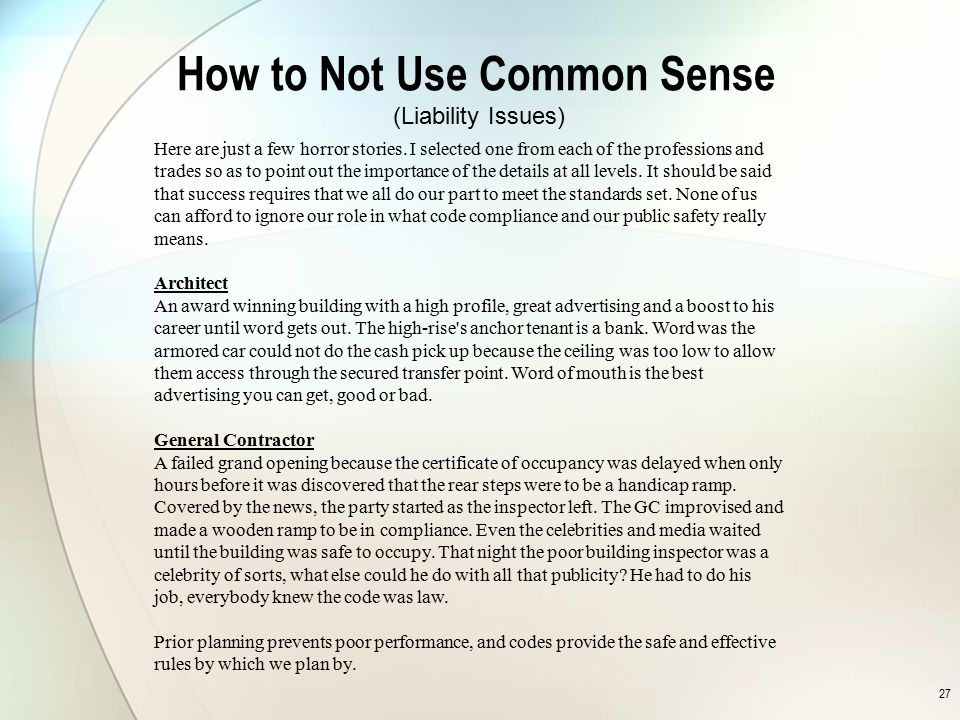 How to Not Use Common Sense