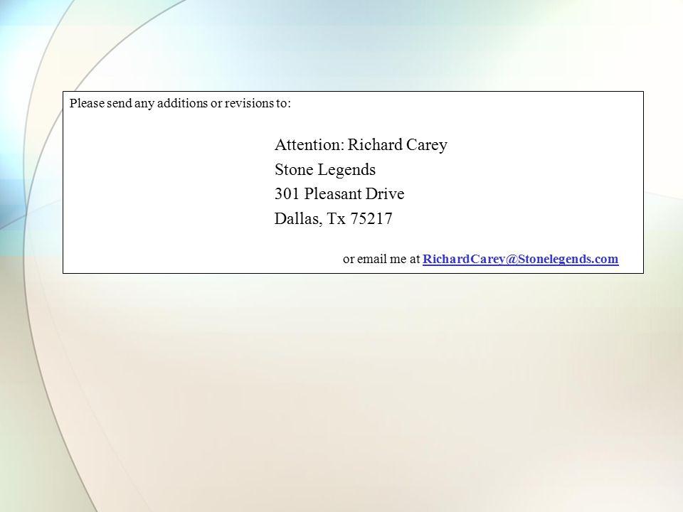 Stone Legends 301 Pleasant Drive Dallas, Tx 75217