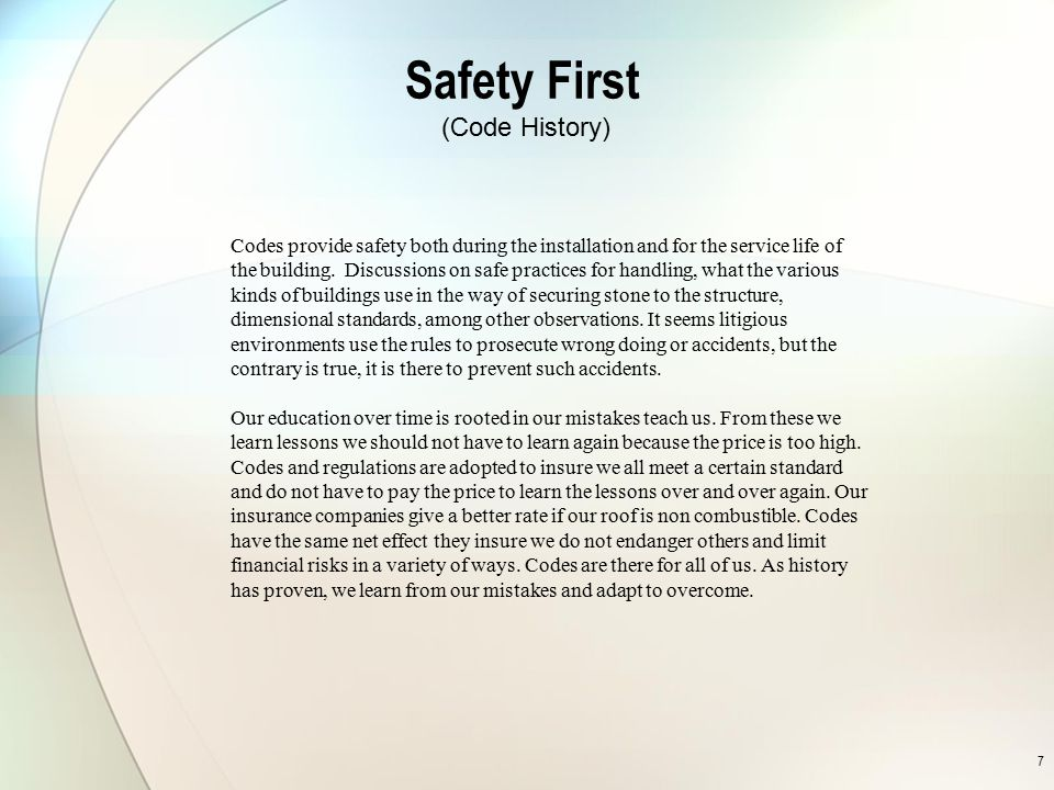 Safety First (Code History)