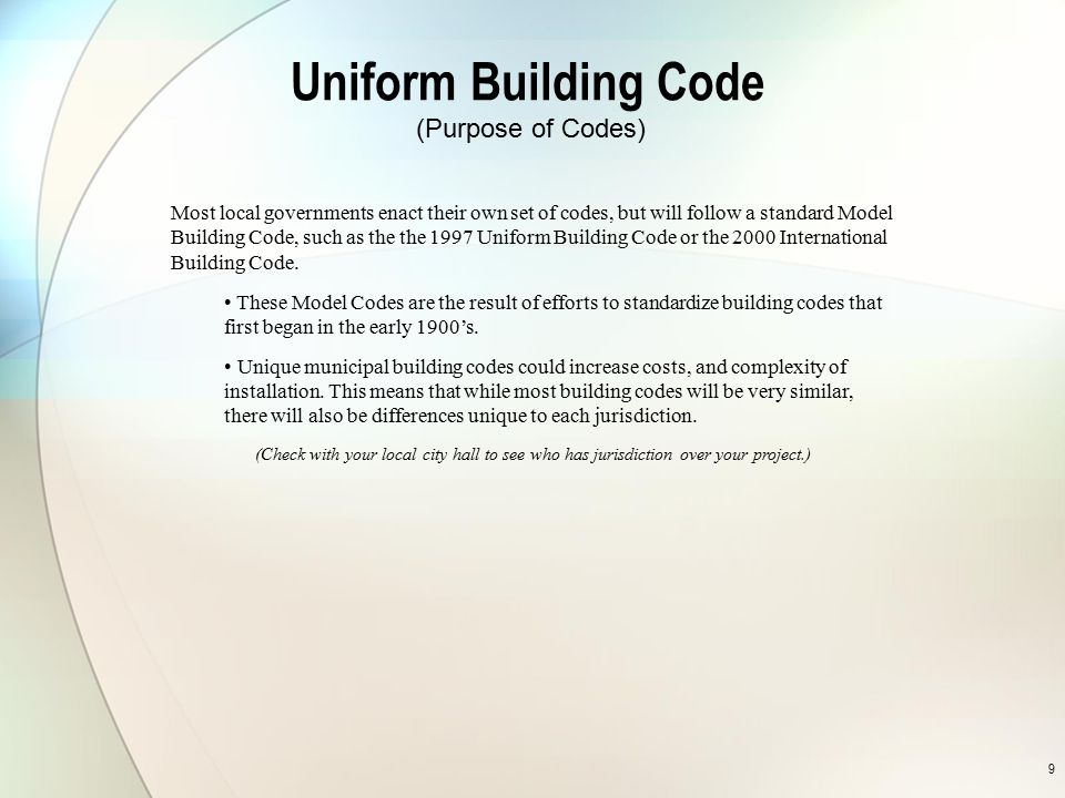 Uniform Building Code (Purpose of Codes)