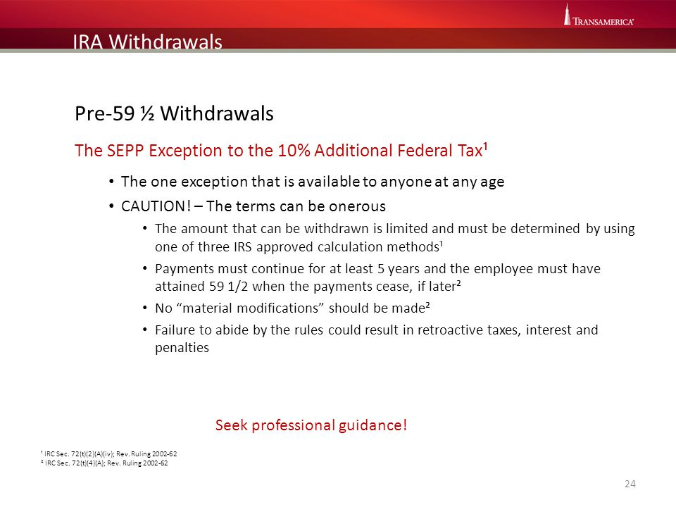 IRA Withdrawals Pre-59 ½ Withdrawals