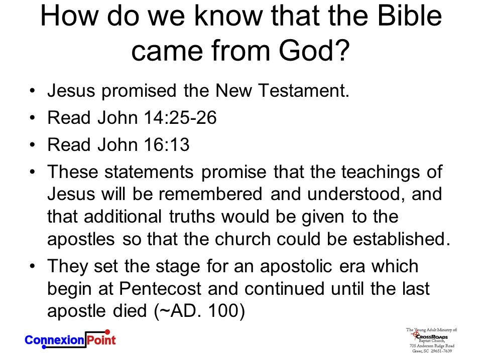 How do we know that the Bible came from God
