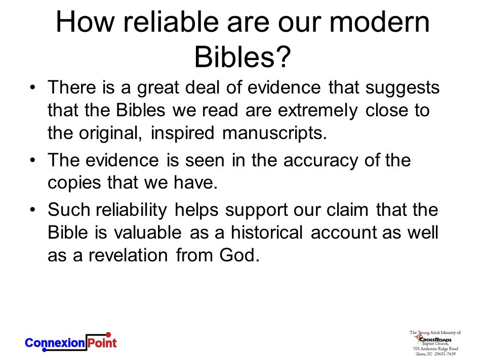 How reliable are our modern Bibles