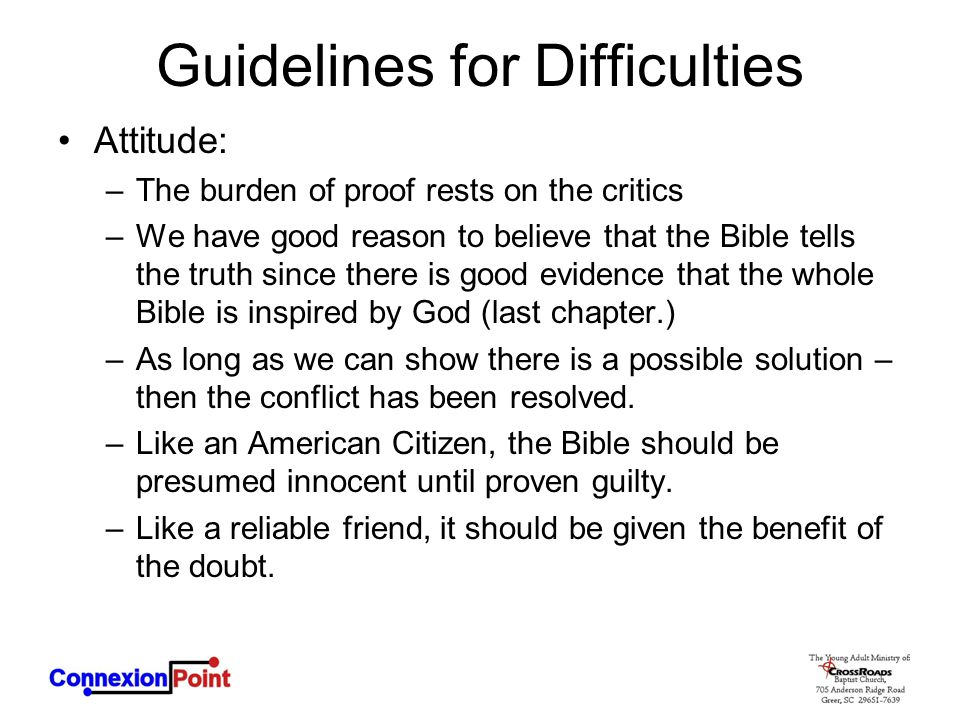 Guidelines for Difficulties