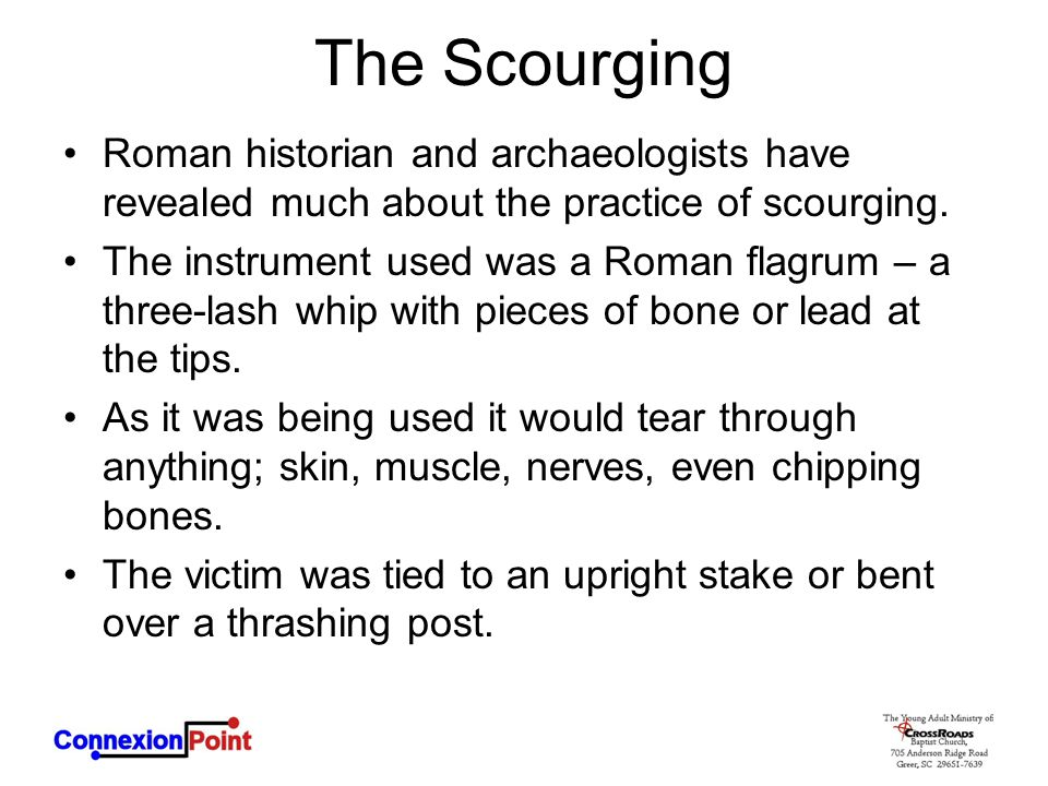 The Scourging Roman historian and archaeologists have revealed much about the practice of scourging.