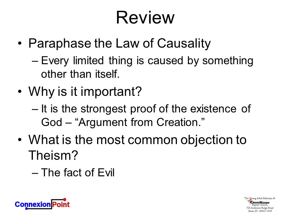 Review Paraphase the Law of Causality Why is it important