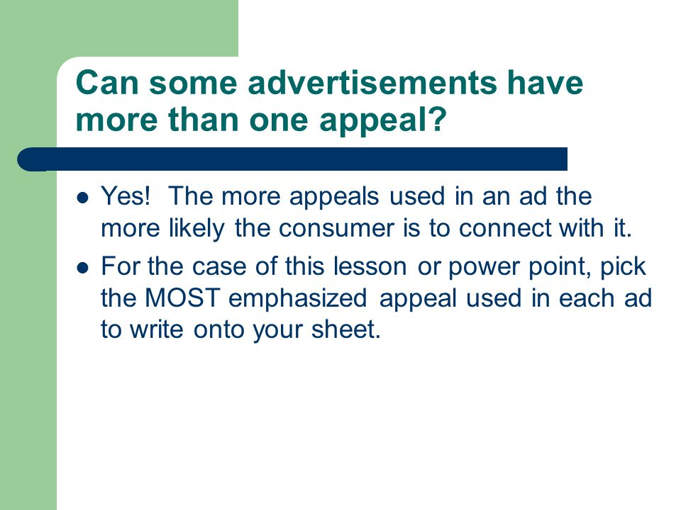Can some advertisements have more than one appeal