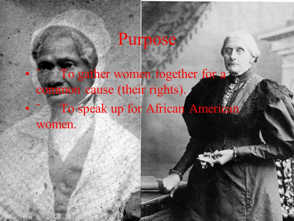 Purpose ¨ To gather women together for a common cause (their rights).